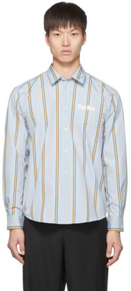 MSGM Blue and Brown Stripe Turbo Shirt