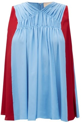 Roksanda Bi-colour Crepe De Chine Top - Womens - Blue