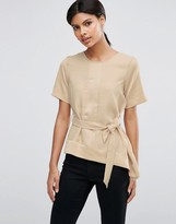 Asos Satin Matte & Shine Asymmetric Tee with Tie Waist