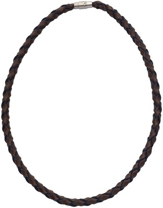 Code Red Brown Leather Plaited Necklace of Length 51 cm