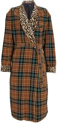 R 13 Winter Robe Wool Plaid Coat