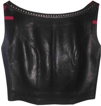 Plein Sud Jeans Black Leather Top for Women