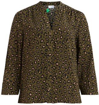 Vila Leopard Print Blouse with 3/4 Length Sleeves