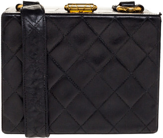 Chanel Black Quilted Leather Vintage Box Bag