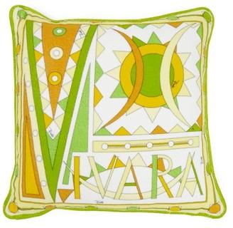 Emilio Pucci Vivara-print Cotton-terry Cushion - Womens - Yellow Multi