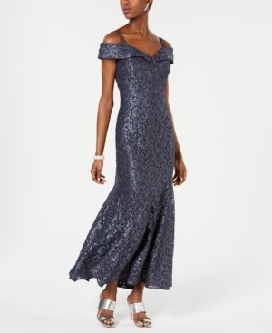 R & M Richards Off-The-Shoulder Petite Lace Gown