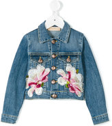 Pamilla Kids - floral appliquéd denim jacket - kids - Cotton/Spandex/Elastane - 4 yrs