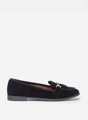 Dorothy Perkins Womens Wide Fit Black 'Lime' Leather Loafers, Black