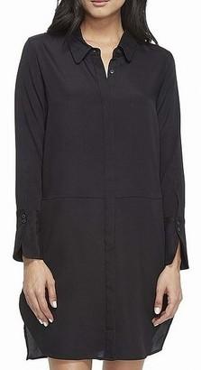 Halston Women's Long Sleeve Shirtdress with Wide Cuff