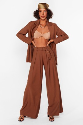 Nasty Gal Womens Business as Usual Wide-Leg Belted Trousers - Brown - 8