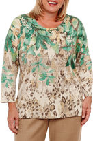 Alfred Dunner Emerald Isle 3/4 Sleeve Crew Neck Floral Pullover Sweater-Plus