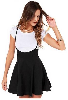 Homebaby   Women Skirt HOMEBABY Women Short Skirt - Ladies Girls Summer A Line Mini Skirt Black Skirt with Shoulder Straps Pleated Dress Swimwear Beachwear (XL/UK Size:14