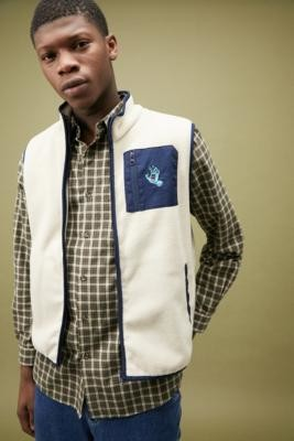 Santa Cruz Screaming Hand Fleece Vest - Beige S at Urban Outfitters