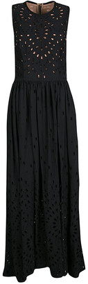 Elie Saab Black Eyelet Embroidered Gathered Sleeveless Maxi Dress S