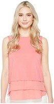 Vince Camuto Sleeveless Mix Media Layered Top Women's Clothing