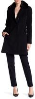 Betsey Johnson Single-Breasted Faux Fur Collar Wool Blend Coat with Corset Sides