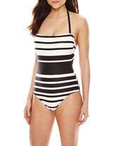 Liz Claiborne Chelsea Stripe Bandeau Maillot 1-Pc Swimsuit
