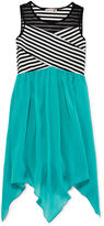 Speechless Stripe Illusion Neck Sharkbite Dress - Girls 7-16