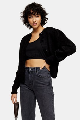 Topshop Womens Black Puff Sleeve Knitted Cardigan - Black