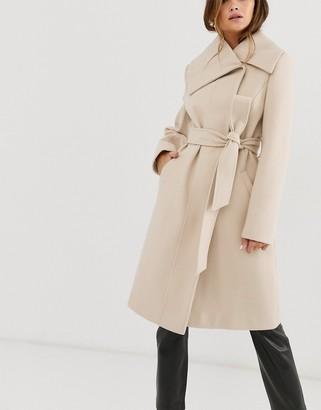Asos Design DESIGN asymmetric collar skater coat in cream