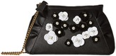 Moschino Embellished Floral Clutch with Chain Clutch Handbags