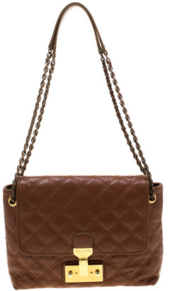 Marc Jacobs Brown Quilted Leather Large Baroque Single Shoulder Bag