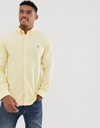 Polo Ralph Lauren slim fit oxford shirt in pastel yellow with multi player logo