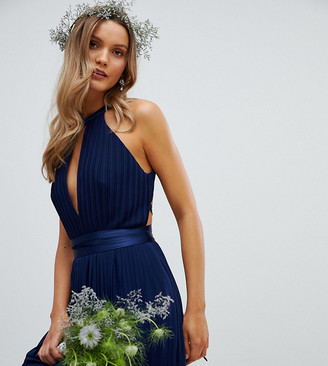 TFNC Pleated Midi Bridesmaid Dress with Cross Back and Bow Detail-Navy