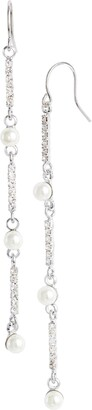 CRISTABELLE Imitation Pearl & Crystal Linear Earrings