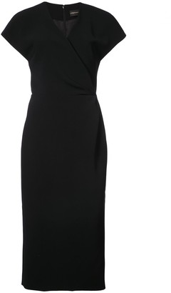 Christian Siriano Wrap Fitted Midi Dress