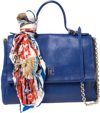Carolina Herrera Blue Leather Minuetto Flap Top Handle Bag
