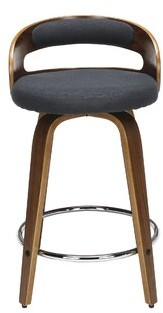 "George Oliver Lacayo Mid Century Modern Low Back Bentwood Frame 24"" Swivel Bar Stool Color: Navy"