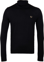 Fred Perry Black Merino Roll Neck Sweater