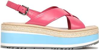 Prada Coated-leather Platform Sandals