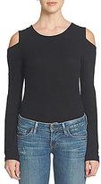 1 STATE Scoop Neck Long Sleeve Cold Shoulder Solid Bodysuit