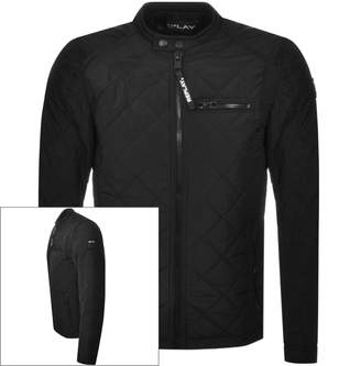 Replay Logo Quilted Jacket Black