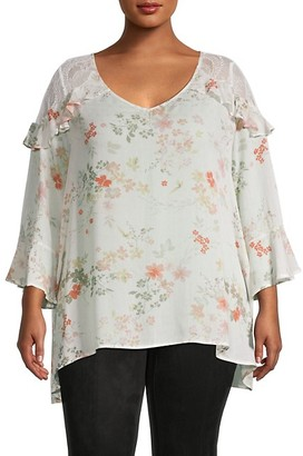 American Rag Plus Floral Lace Bell-Sleeve Top