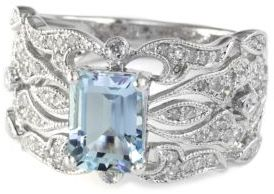 EFFY COLLECTION 14Kt. White Gold Aqua & Diamond Ring