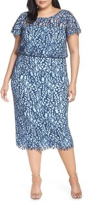 JS Collections Blouson Lace Midi Dress