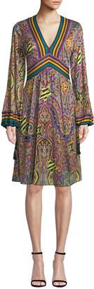 Etro Pop-Star Paisley V-Neck Balloon-Sleeve Dress