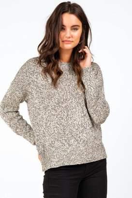francesca's Alexandria Contrast Zipper Sweater - Taupe