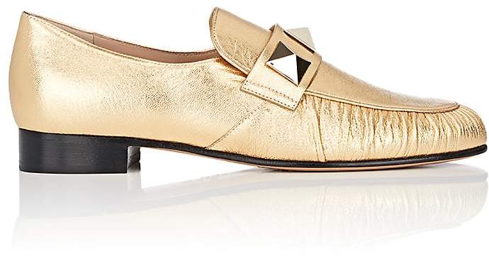 Valentino Women's Rockstud Metallic Leather Loafers