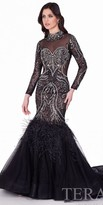Terani Couture Long Sleeve Feather Mermaid Gown
