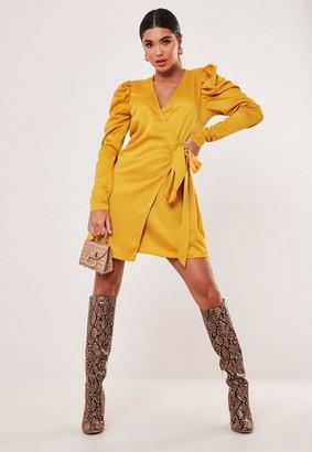 Missguided Mustard Satin Puff Sleeve Wrap Dress