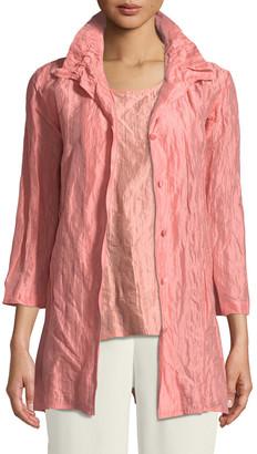 Caroline Rose Plus Size Ruched-Collar Crinkled Jacket