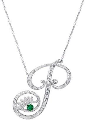 Tabayer Eye 18K White Gold, Diamond Emerald Powerful Pendant Necklace