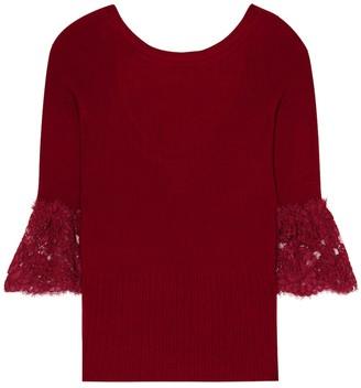 Oscar de la Renta Lace-trimmed wool sweater