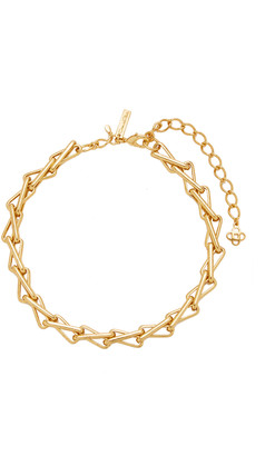 Oscar de la Renta Chain-Link Intertwined Pewter and Brass Necklace