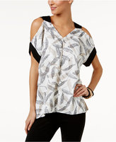 Alfani Printed Cold-Shoulder Top, Only at Macy's