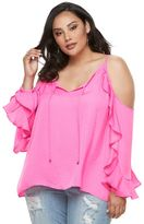 JLO by Jennifer Lopez Plus Size Cold-Shoulder Ruffle Top